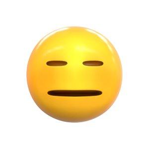 3D emoji expressionless face