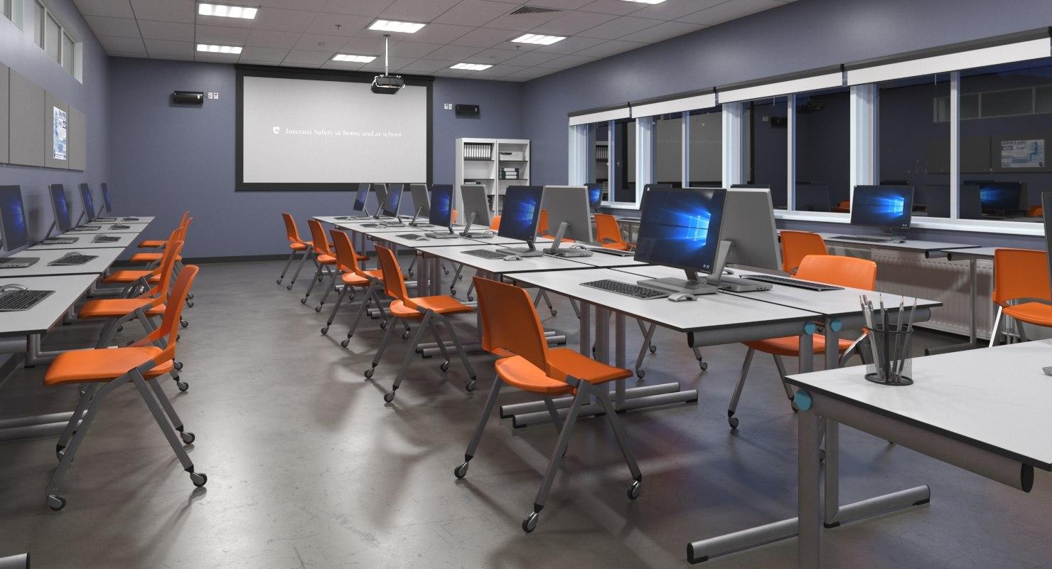 realistic omputer classroom 3D model