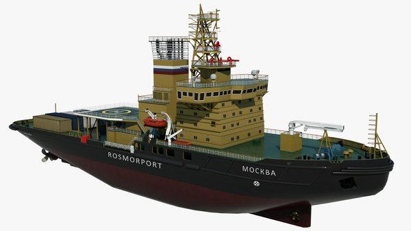 3D model icebreaker moscow vessel cargo ship