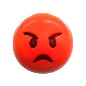 3D emoji pouting face model