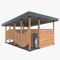 public outdoor toilet 3D model