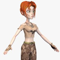 cartoon soldier female - 3D model