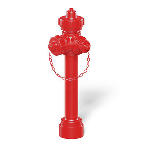 slim red hydrant 3D