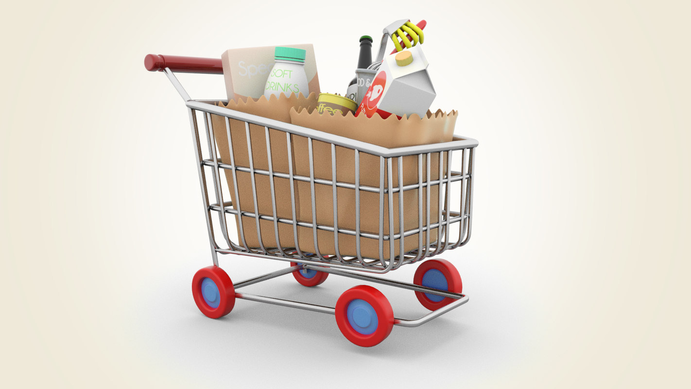cartoon shopping cart model