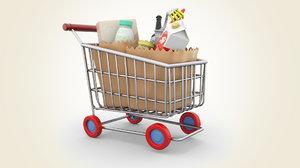 cartoon shopping cart model