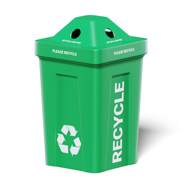 3D green trash bin model