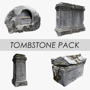 3D tombstone pack stone tomb model