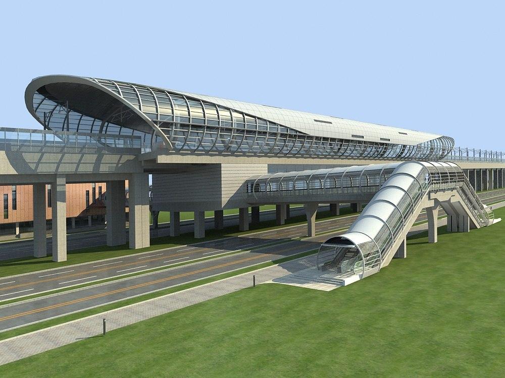 3D model light rail station