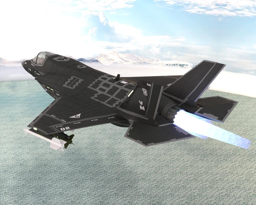 3D ghost x fighter jet model