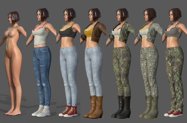 female character pack customize 3D model