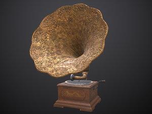 3D model gramophone asset pbr