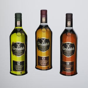 3D bottles whisky