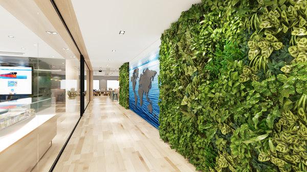 vertical green wall plants 3D