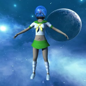 fishbowl head female character 3D model