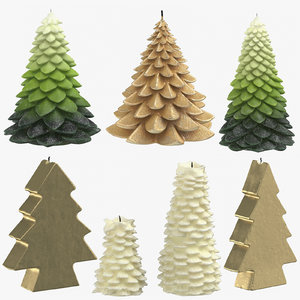 christmas tree shaped candles 3D model