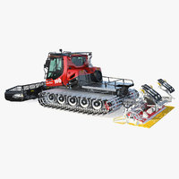 Snowy PistenBully 100 Snowcat with Snowplow 3D Model