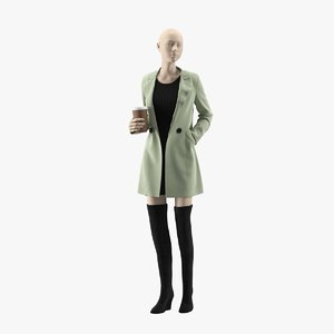 realistic female mannequin coat 3D