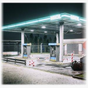 gas station night scene 3D model