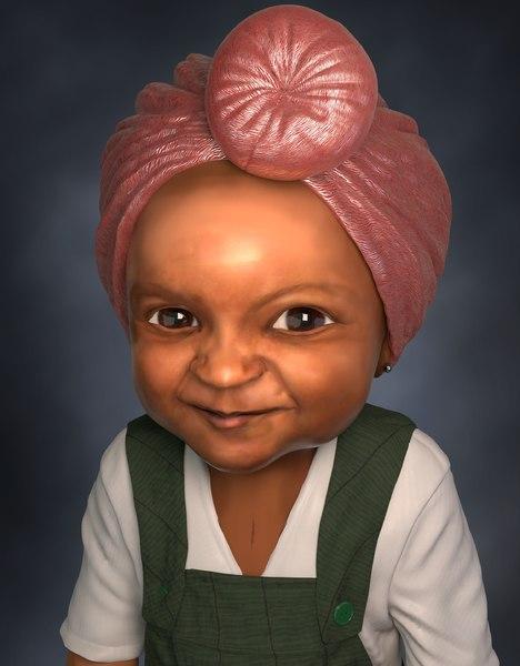 afro-caribbean girl baby toddler 3D