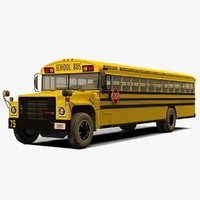 3D model american school bus rigged