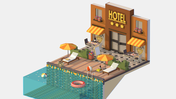 isometric pool hotel model