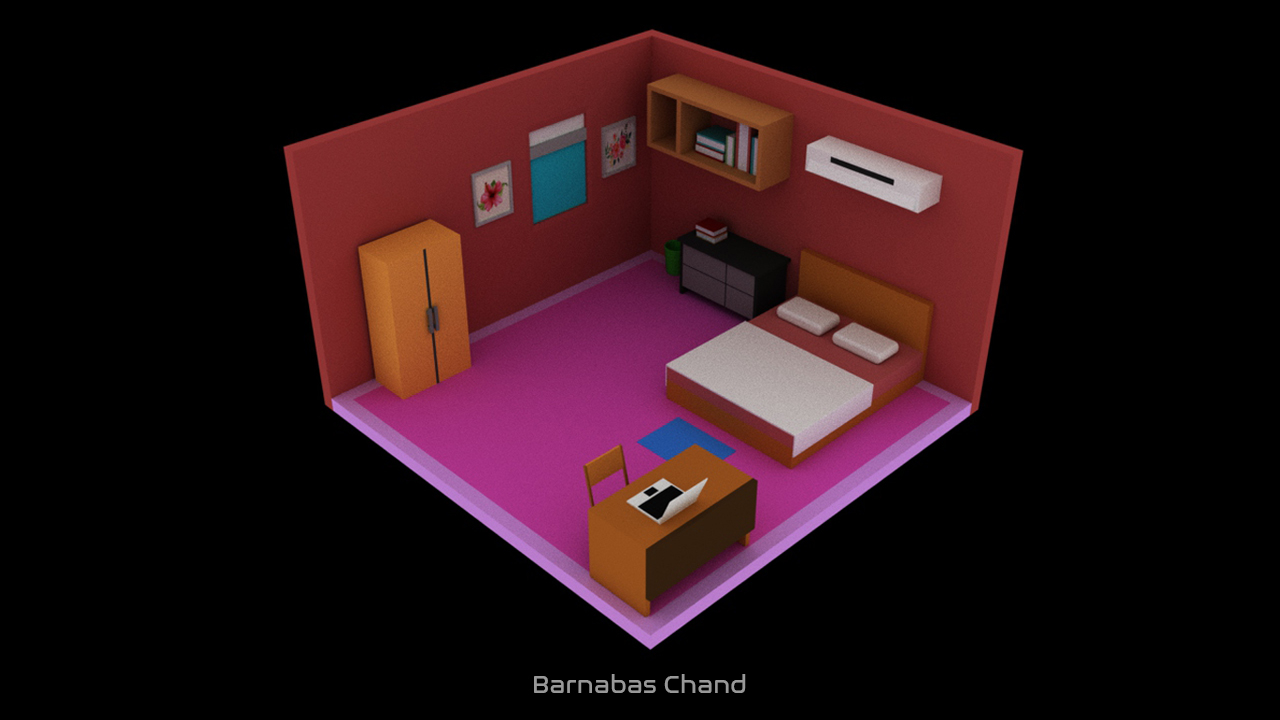 isometric bedroom design room 3D model