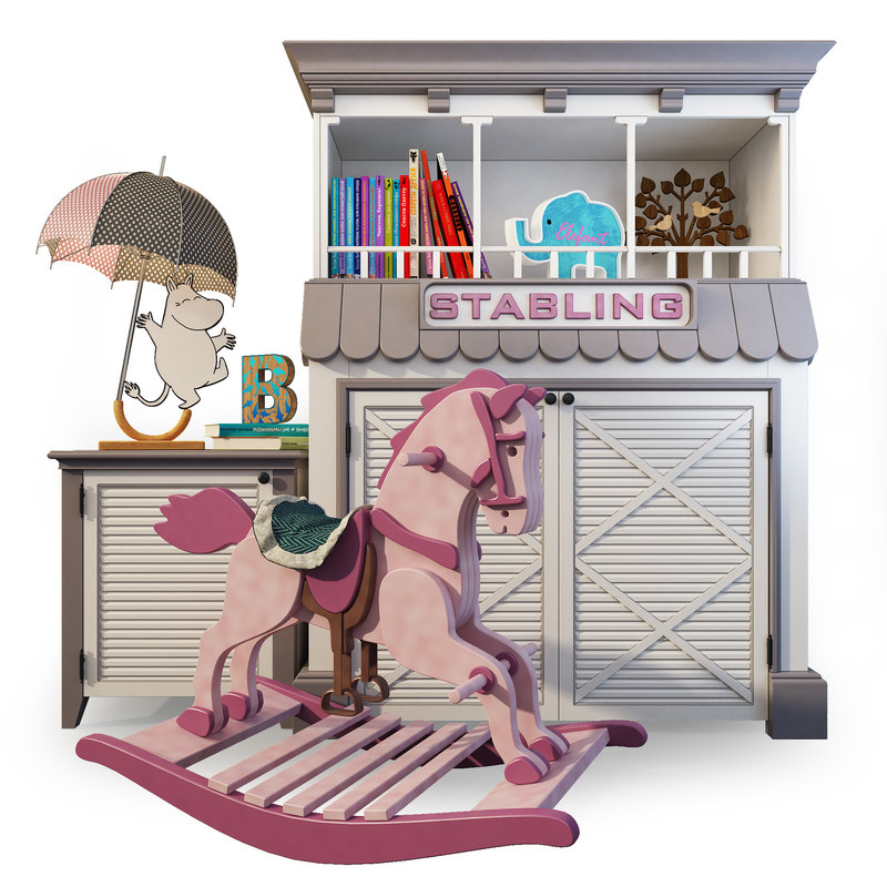 3D horse rocking nightstand