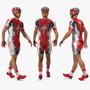 bicyclist red suit rigged 3D
