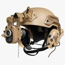 Helmet With Night Vision Goggles And Headphones