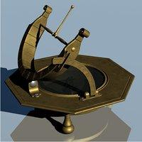 3D vintage brass universal octagonal