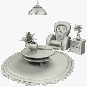 3D cartoon room stuff armchair model
