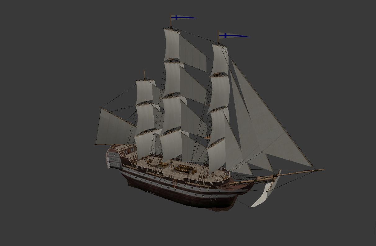 3D sailing line warship 80