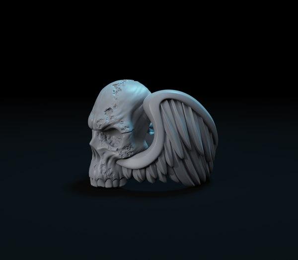 fashion skull wings ring 3D