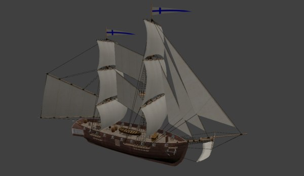 3D brig sailing ship model