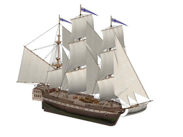 3D frigate ship