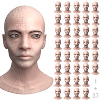 3D female head 37 facial expression