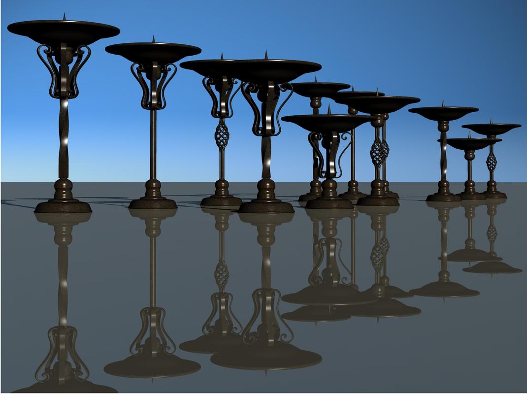 iron candlesticks 3D model
