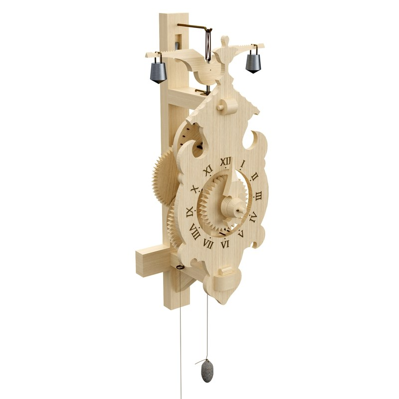 wooden clock 3d obj