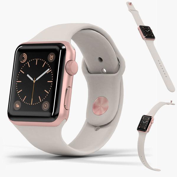 3D apple watch rose gold model