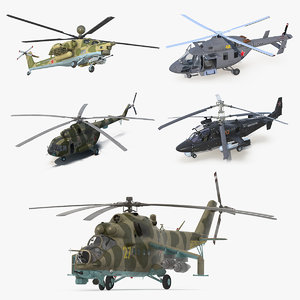 russian military helicopters copters 3D model