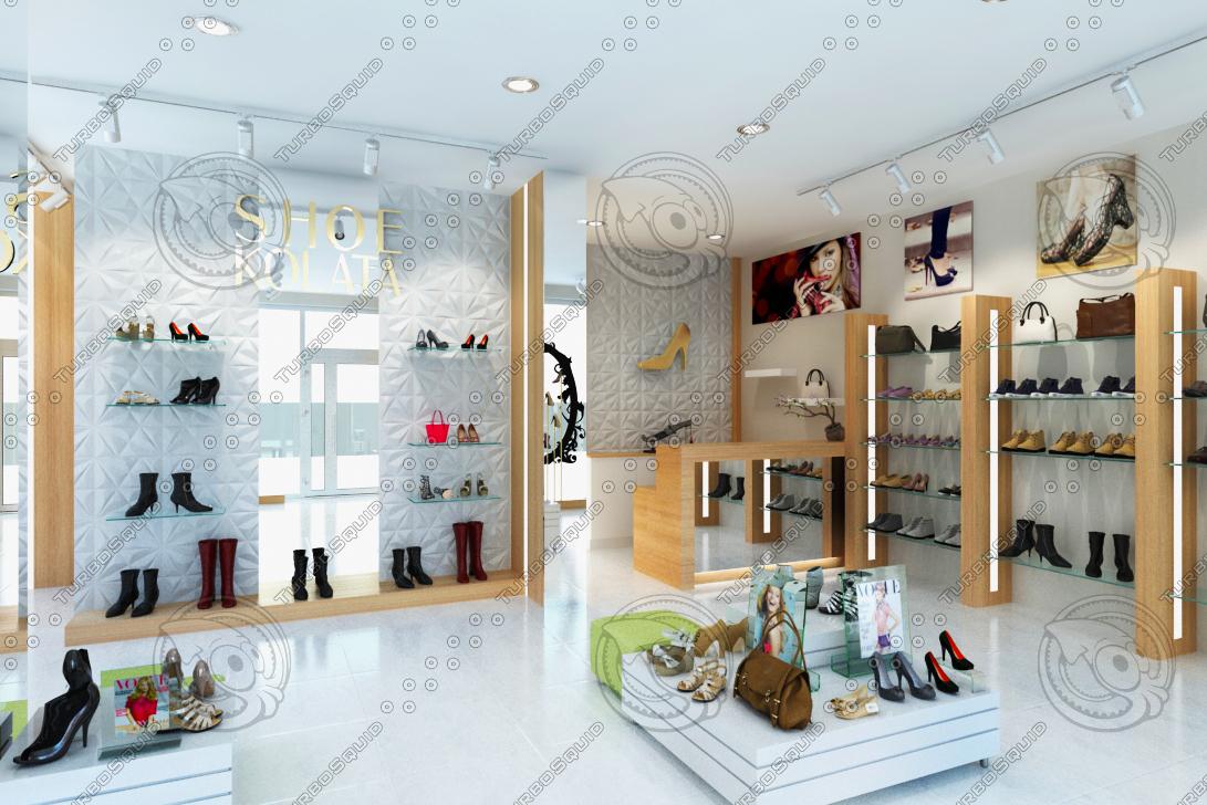 3D shoe store shop model