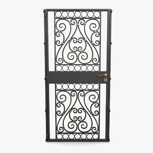3D wrought iron gate 02 model