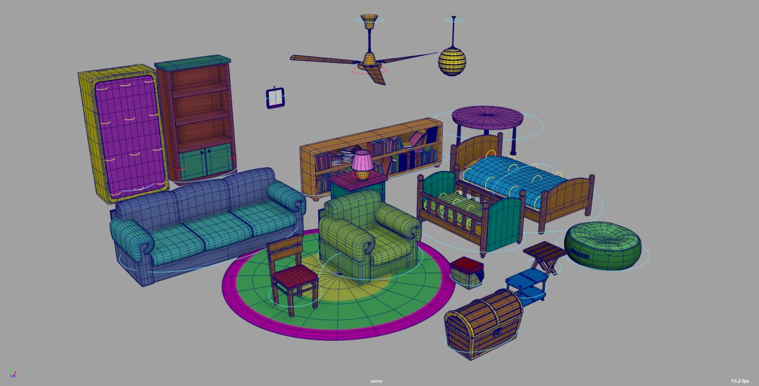 3D model youtube cartoon pack furniture