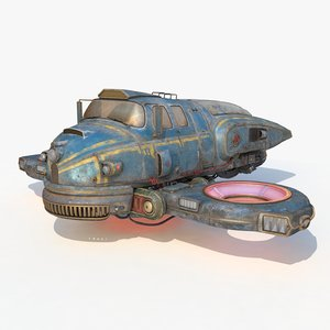 3D old sci fi ship