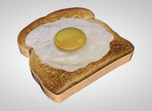 3D model egg toast