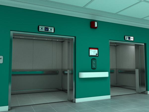 scene elevator lobby interior 3D model