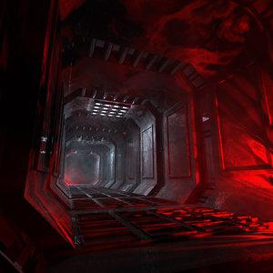concepts dark futuristic corridor 3D