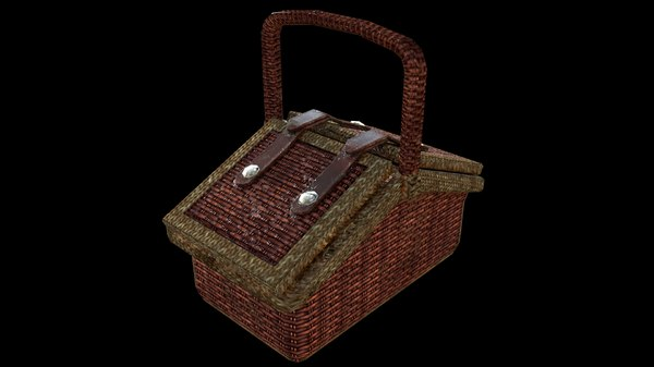 3D wooden basket rigged model