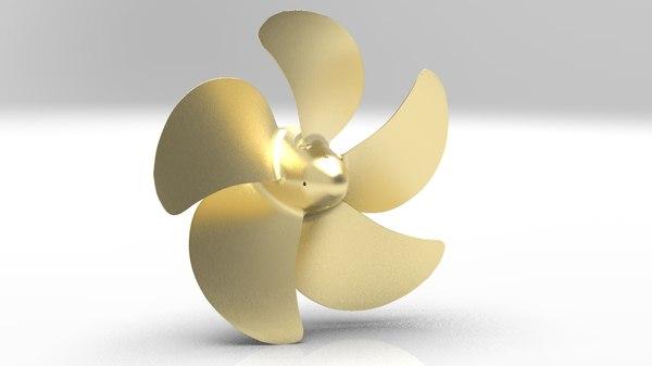 5 blade propeller azipod 3D model