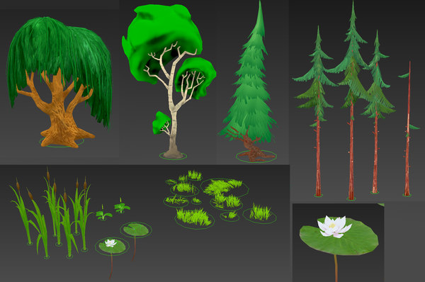 3D cartoon forest plants model